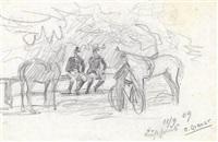 zwei skizzenblätter: von der stefaniebrücke - zwei soldaten mit pferden auf der rast (2 works, 1 lrgr) by ernst graner