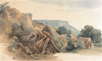 strohhütten in einer mittelgebirgslandschaft by eugen adam