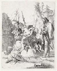ninfa seminuda con due fanciulli circondata da quattro uomini (from scherzi) by giovanni battista tiepolo