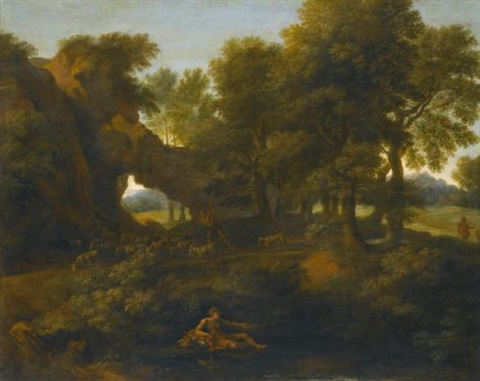 a classical landscape with a fisherman in the foreground and a herder with goats on the path beyond by gaspard dughet
