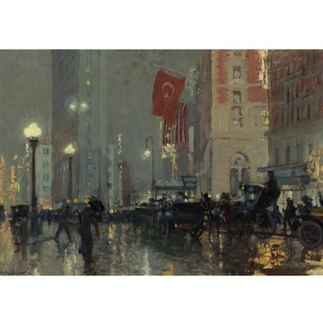 times square at night by charles hoffbauer