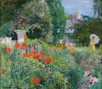 élégante dans le parc fleuri de coquelicots by ernest jean joseph godfrinon