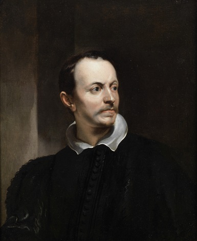 portrait of a gentleman, bust-length, in black costume with a white collar by sir anthony van dyck