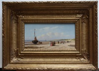flanerende figuren op het strand by anton karssen