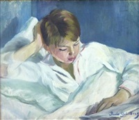 jeune garçon lisant by paule gobillard