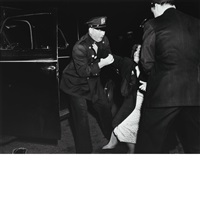 classic weegee images: a stitch in time on coney island; man covered up with newspapers...; wife of man tries to reach his body... (3 works) by weegee