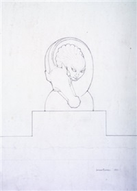 architectural sketch of horse & woman (+ 4 others; 5 works) by laurence campbell