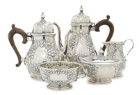 tea service (set of 5) by fisher silversmiths (co.)