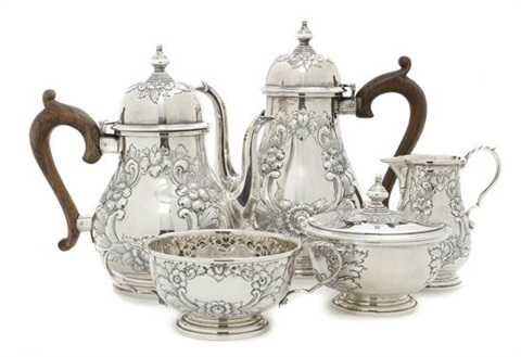 tea service set of 5 by fisher silversmiths co