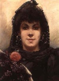 porträt af kvinde med blomster by henri van melle