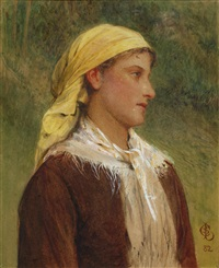 portrait study of a young woman with yellow headscarf by charles sillem lidderdale