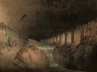 subteraneous ruins of maecenas's villa at tivoli (+ fountain of egeria near rome; 2 works by f. jukes) by robert freebairn