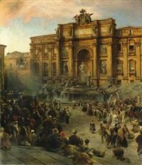 fontana di trevi by oswald achenbach