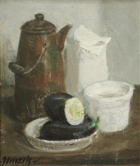 still life with brown vase by imants vecozols
