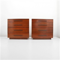 four drawer dressers (pair) by gilbert rohde