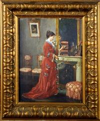 elégante à la robe rouge by l. monchot
