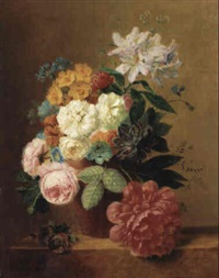 a still life with roses and other flowers in a vase on a ledge by arnoldus bloemers