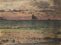 a distant ship at sunset by jules masuré
