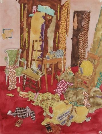 La Chambre rouge aux tissus by Jean Darquet on artnet