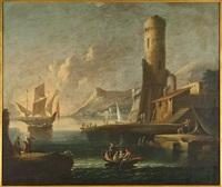 veduta di porto con vecchia torre by pietro antoniani