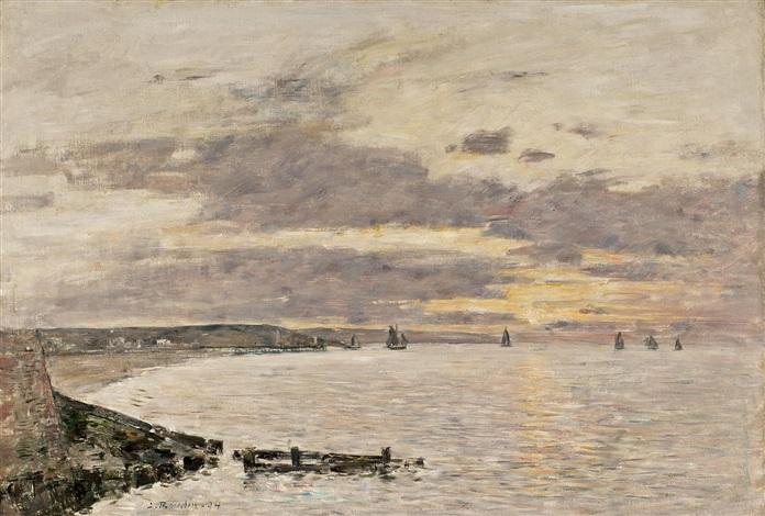 la baie de trouville au coucher du soleil by eugène boudin
