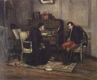 officier conversant avec un abbé dans un salon by charles merlette