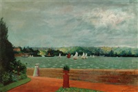 sydney harbour from the foreshore of the botanic gardens by australian school (19)