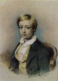a charming portrait of a young boy with blond hair by samuel barry godbold