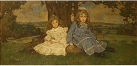two girls seated in a landscape by william dacres adams