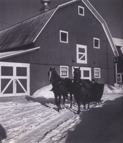 sleigh on a farm near burke vi by john vachon