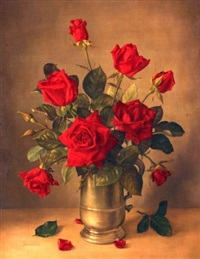 still life study of red roses in pewter tankard by james noble