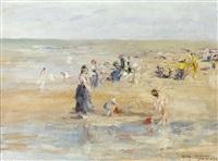 vue de plage animée by charles gouweloos