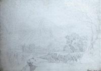 paysage montagneux animé d'une ville fortifiée et de personnages by pierre péquignot
