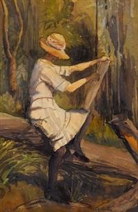 australia woman sketching by frederick william leist