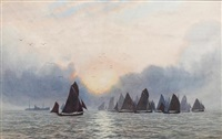 the sprat fleet leaving poole harbour, dorset by william pye