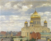 view of cathedral of christ the saviour, moscow by mikhail markianovich germanshev