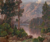 california mountain and lake landscape by william thomas mcdermitt