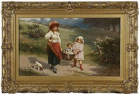 to market to buy a fat pig, mother and young girl carrying a baby in a basket by edwin thomas roberts