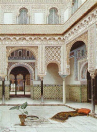 patio del alcazar de sevilla by tomas aceves