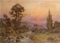 paysage de rivière au soleil couchant by lucien simonnet