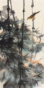 竹雀图 by chen peiqiu