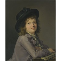 portrait of a young boy, seated at a desk holding a book by marie-victoire lemoine