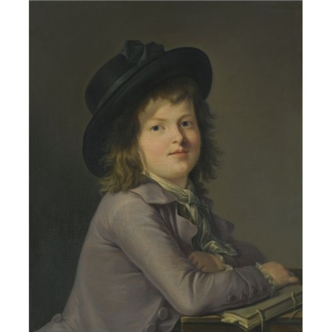 portrait of a young boy seated at a desk holding a book by marie victoire lemoine