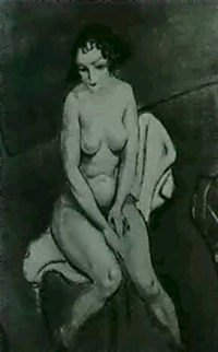 seated nude by r. beran
