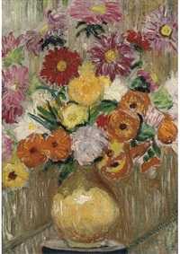 flowers in a yellow vase upon a plinth by lily martha maud macdougall