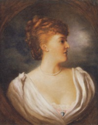 portrait of a lady (lady violet nevill?) in a white dress by w.v. kanecke