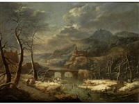 winterliche flusslandschaft mit bogenbrücke, erhöht stehendem städtchen sowie schlittschuhläufern als figurenstaffage by jacob grimmer