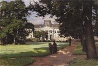 peintre dans le parc du château by alfred renaudin