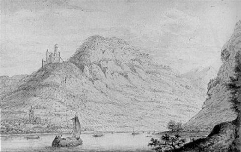 a view of wellmich and burg wellmich from the west bank of the rhine, looking upstream by hendrick de leth