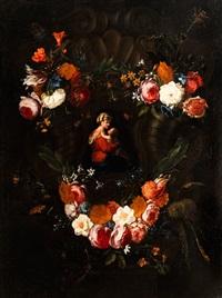 madonna mit dem kind in einem blütenkranz by frans ykens